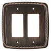 Brainerd 2-Gang Venetian Bronze Decorator Rocker Metal Wall Plate