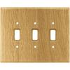 Brainerd Wood Square 3-Gang Medium Oak Triple Toggle Wall Plate
