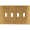 Brainerd 4-Gang Medium Oak Standard Toggle Wood Wall Plate
