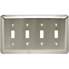 Style Selections 4-Gang Satin Nickel Standard Toggle Steel Wall Plate