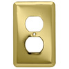 Style Selections 6-Pack 1-Gang Polished Brass Standard Duplex Receptacle Steel Wall Plates