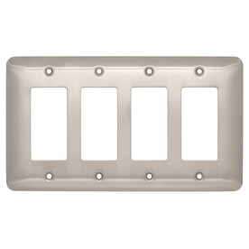 Brainerd 4-Gang Satin Nickel Decorator Rocker Steel Wall Plate