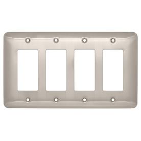 Brainerd 4-Gang Satin Nickel Decorator Wall Plate