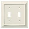 Brainerd 2-Gang Almond Standard Toggle Wood Wall Plate