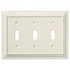 Brainerd 3-Gang Almond Standard Toggle Wood Wall Plate