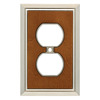 Brainerd 1-Gang Satin Nickel/Dark Caramel Standard Duplex Receptacle Metal Wall Plate