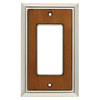 Brainerd 1-Gang Satin Nickel/Dark Caramel Decorator Rocker Metal Wall Plate
