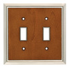 Brainerd 2-Gang Satin Nickel/Dark Caramel Standard Toggle Metal Wall Plate