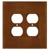 Brainerd 2-Gang Dark Oak Standard Duplex Receptacle Wood Wall Plate