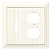 Brainerd 2-Gang Cream Standard Duplex Receptacle Wood Wall Plate