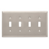 Brainerd 4-Gang Satin Nickel Standard Toggle Stainless Steel Wall Plate