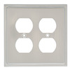Brainerd 4-Gang Satin Nickel Finish Standard Duplex Receptacle Stainless Steel Wall Plate