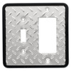 Brainerd 2-Gang Chrome Decorator Rocker Steel Wall Plate
