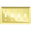 Brainerd Stamped Round 4-Gang Polished Brass Quad Toggle Wall Plate