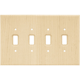 Brainerd Wood Square 4-Gang Light Wood Quad Toggle Wall Plate