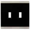 Brainerd 2-Gang Satin Nickel and Black Standard Toggle Metal Wall Plate