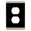 Brainerd 1-Gang Satin Nickel and Black Standard Duplex Receptacle Metal Wall Plate