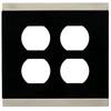 Brainerd 2-Gang Satin Nickel and Black Standard Duplex Receptacle Metal Wall Plate