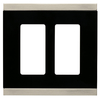 Brainerd 2-Gang Satin Nickel and Black Decorator Rocker Metal Wall Plate