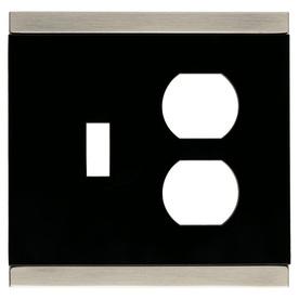 Brainerd 2-Gang Satin Nickel and Black Combination Metal Wall Plate