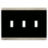 Brainerd 3-Gang Satin Nickel and Black Standard Toggle Metal Wall Plate