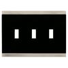 Brainerd 3-Gang Satin Nickel and Black Standard Toggle Metal Wall Plate
