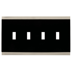 Brainerd 4-Gang Satin Nickel and Black Standard Toggle Metal Wall Plate
