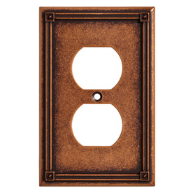 Brainerd 1-Gang Sponged Copper Standard Duplex Receptacle Metal Wall Plate