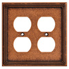Brainerd 2-Gang Sponged Copper Standard Duplex Receptacle Metal Wall Plate