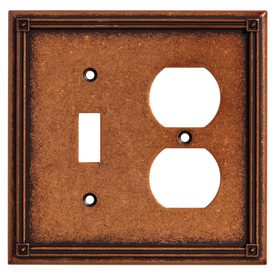 Brainerd 2-Gang Sponged Copper Combination Metal Wall Plate