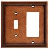 Brainerd Ruston 2-Gang Sponged Copper Single Toggle/Decorator Wall Plate