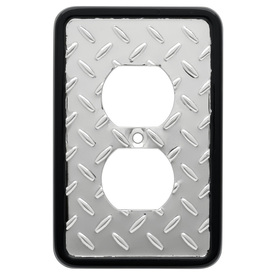 Brainerd 1-Gang Polished Chrome and Black Round Wall Plate
