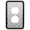 Brainerd 1-Gang Polished Chrome and Black Standard Duplex Receptacle Metal Wall Plate