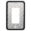 Brainerd 1-Gang Polished Chrome and Black Decorator Rocker Metal Wall Plate
