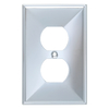 Brainerd 1-Gang Polished Chrome Standard Duplex Receptacle Metal Wall Plate