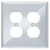 Brainerd 2-Gang Polished Chrome Standard Duplex Receptacle Stainless Steel Wall Plate