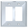 Brainerd 2-Gang Polished Chrome Decorator Rocker Stainless Steel Wall Plate