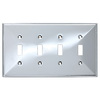 Brainerd 4-Gang Polished Chrome Standard Toggle Stainless Steel Wall Plate
