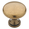 Brainerd Tumbled-Antique Brass Round Cabinet Knob