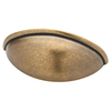 Brainerd 3-in Center-to-Center Tumbled-Antique Brass Cup Cabinet Pull