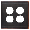 Brainerd 2-Gang Bronze with Copper Highlights Standard Duplex Receptacle Metal Wall Plate