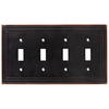 Brainerd 4-Gang Bronze with Copper Highlights Standard Toggle Metal Wall Plate