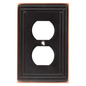 Brainerd 1-Gang Bronze with Copper Highlights Standard Duplex Receptacle Metal Wall Plate