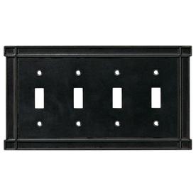 Brainerd 4-Gang Soft Iron Standard Toggle Metal Wall Plate