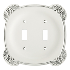 Brainerd 2-Gang White Antique Toggle Wall Plate