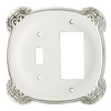 Brainerd 2-Gang White Antique Combination Metal Wall Plate