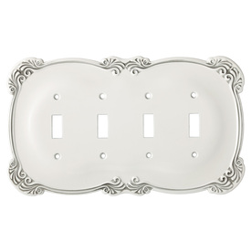 Brainerd 4-Gang White Antique Standard Toggle Metal Wall Plate