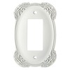 Brainerd 1-Gang White Antique Decorator Rocker Metal Wall Plate