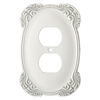 Brainerd 1-Gang White Antique Standard Duplex Receptacle Metal Wall Plate