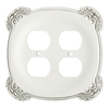 Brainerd 2-Gang White Antique Standard Duplex Receptacle Metal Wall Plate